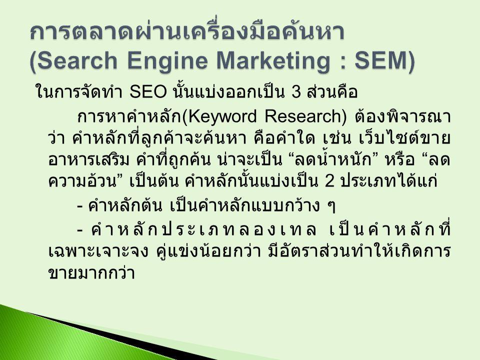 ในการจัดทำ SEO นั้นแบ่งออกเป็น 3 ส่วนคือ การหาคำหลัก (Keyword Research) ต้องพิจารณา ว่า คำหลักที่ลูกค้าจะค้นหา คือคำใด เช่น เว็บไซต์ขาย อาหารเสริม คำท