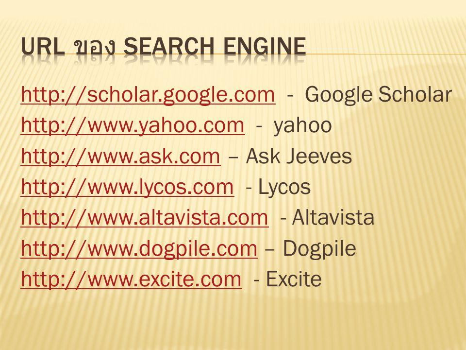 http://scholar.google.comhttp://scholar.google.com - Google Scholar http://www.yahoo.comhttp://www.yahoo.com - yahoo http://www.ask.comhttp://www.ask.