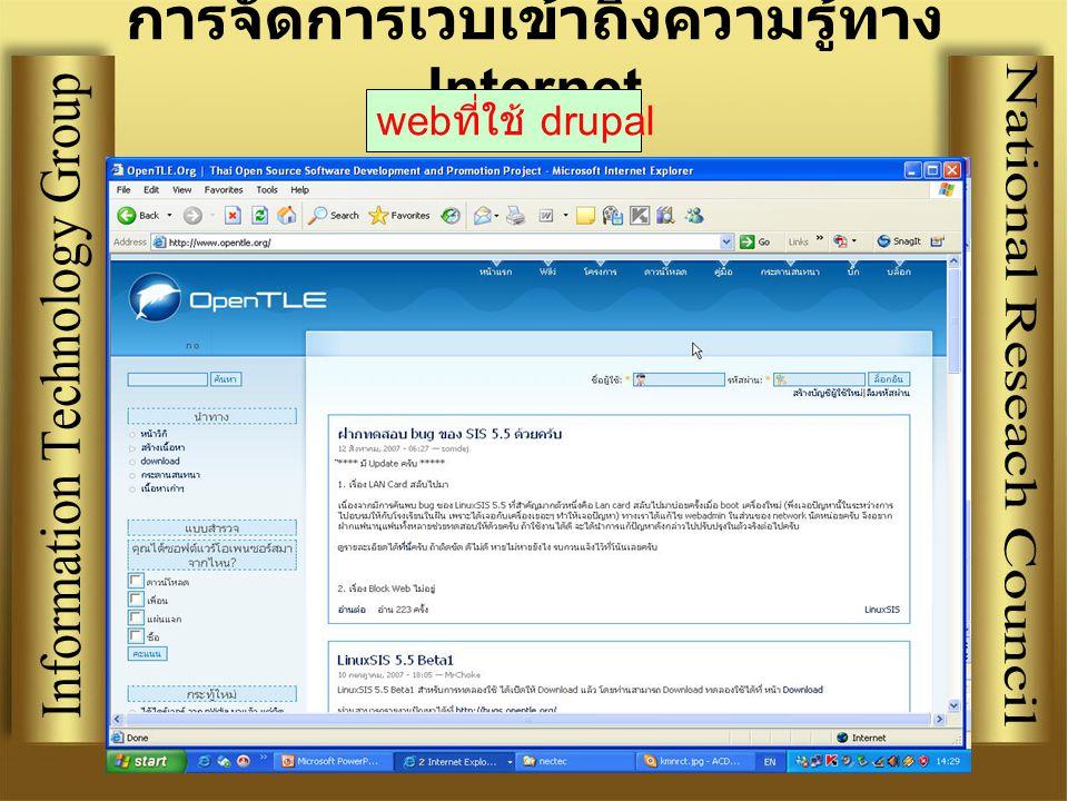 การจัดการเวบเข้าถึงความรู้ทาง Internet web ที่ใช้ drupal