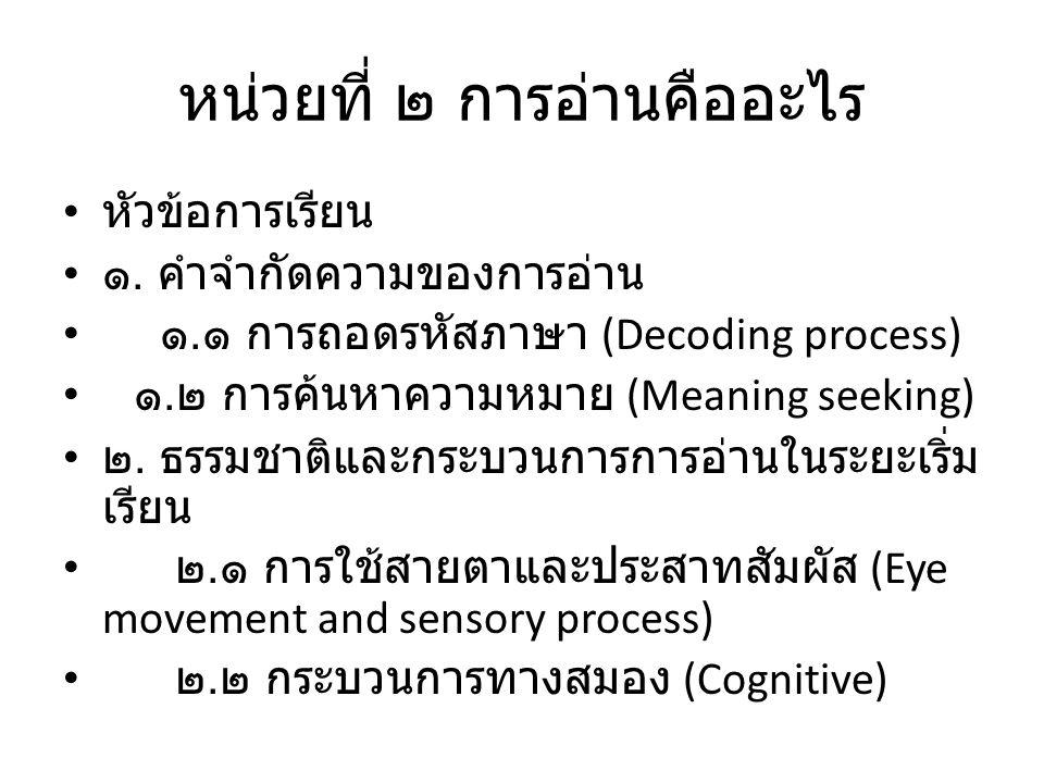 หน่วยที่ ๒ การอ่านคืออะไร หัวข้อการเรียน ๑. คำจำกัดความของการอ่าน ๑. ๑ การถอดรหัสภาษา (Decoding process) ๑. ๒ การค้นหาความหมาย (Meaning seeking) ๒. ธร