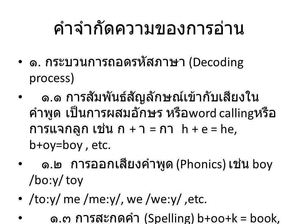 คำจำกัดความของการอ่าน ๑. กระบวนการถอดรหัสภาษา (Decoding process) ๑. ๑ การสัมพันธ์สัญลักษณ์เข้ากับเสียงใน คำพูด เป็นการผสมอักษร หรือ word calling หรือ
