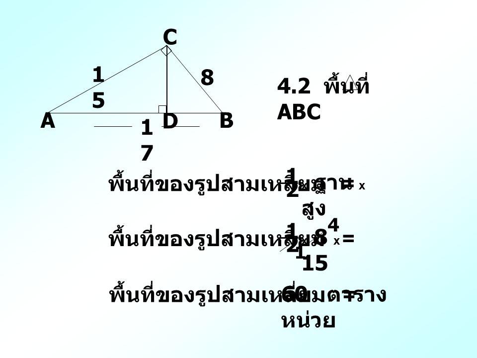 A C B D 1515 8 1717 4.2 พื้นที่ ABC พื้นที่ของรูปสามเหลี่ยม = x ฐาน x สูง 1 2 พื้นที่ของรูปสามเหลี่ยม = x 8 x 15 1 2 1 4 พื้นที่ของรูปสามเหลี่ยม = 60 ตาราง หน่วย