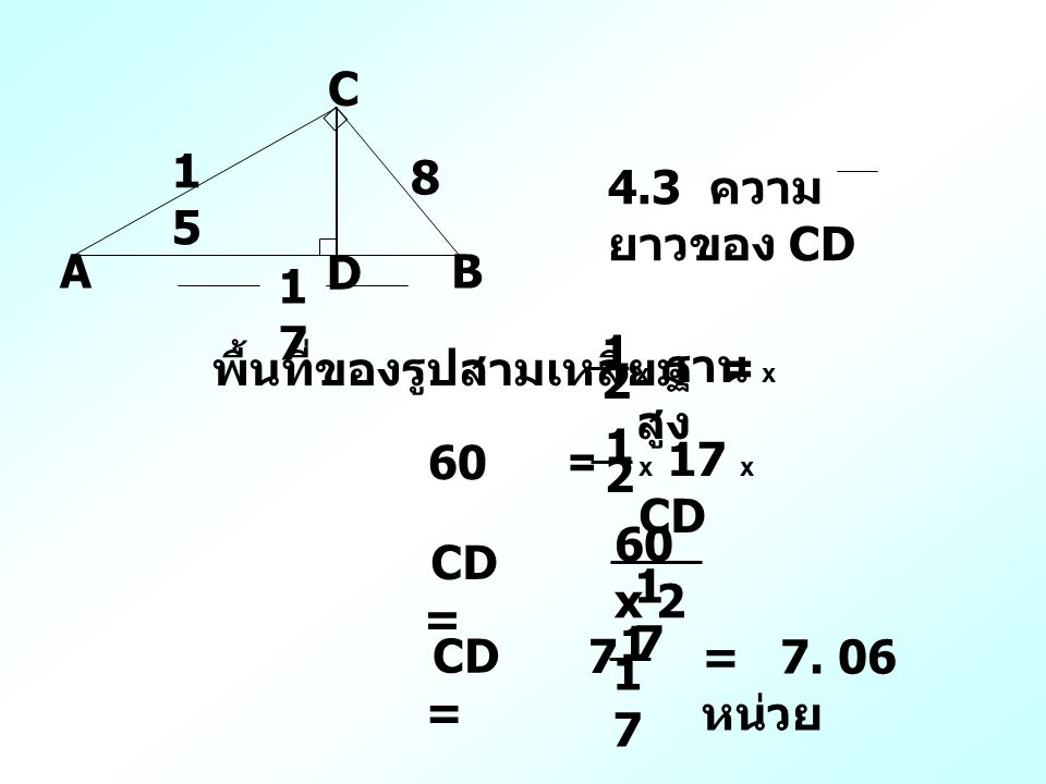 A C B D 1515 8 1717 4.3 ความ ยาวของ CD พื้นที่ของรูปสามเหลี่ยม = x ฐาน x สูง 1 2 60 = x 17 x CD 1 2 CD = 60 x 2 1717 7 1 1717 CD = = 7.