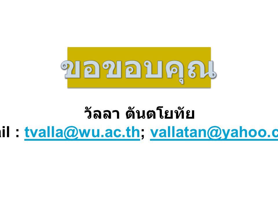 วัลลา ตันตโยทัย email : tvalla@wu.ac.th; vallatan@yahoo.comtvalla@wu.ac.thvallatan@yahoo.com