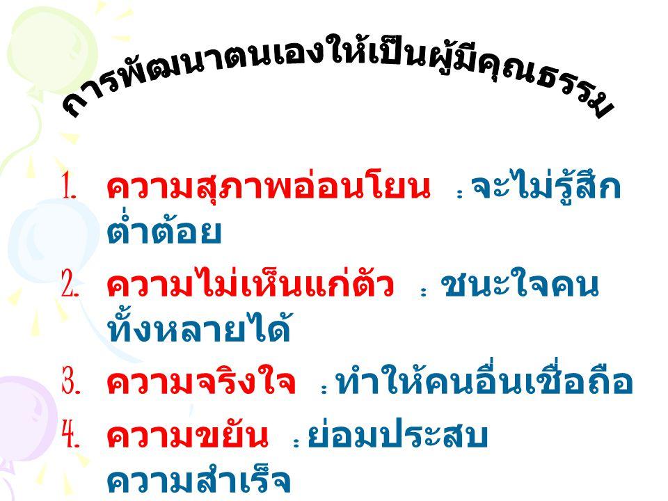 1. ความสุภาพอ่อนโยน : จะไม่รู้สึก ต่ำต้อย 2. ความไม่เห็นแก่ตัว : ชนะใจคน ทั้งหลายได้ 3. ความจริงใจ : ทำให้คนอื่นเชื่อถือ 4. ความขยัน : ย่อมประสบ ความส