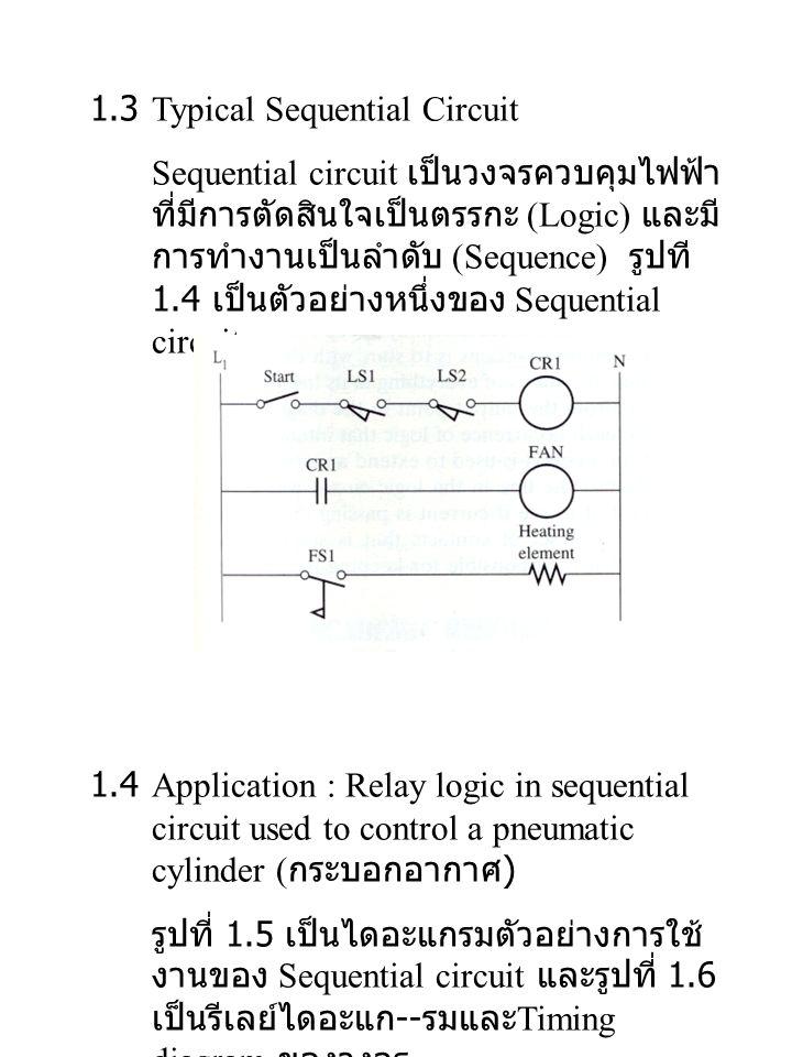 1.3Typical Sequential Circuit Sequential circuit เป็นวงจรควบคุมไฟฟ้า ที่มีการตัดสินใจเป็นตรรกะ (Logic) และมี การทำงานเป็นลำดับ (Sequence) รูปที 1.4 เป็นตัวอย่างหนึ่งของ Sequential circuit 1.4Application : Relay logic in sequential circuit used to control a pneumatic cylinder ( กระบอกอากาศ ) รูปที่ 1.5 เป็นไดอะแกรมตัวอย่างการใช้ งานของ Sequential circuit และรูปที่ 1.6 เป็นรีเลย์ไดอะแก -- รมและ Timing diagram ของวงจร