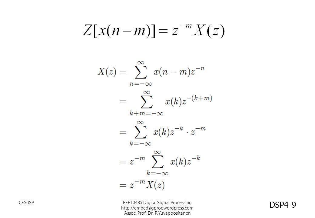 ตัวอย่าง วิธีทำ สำหรับสัญญาณ y(n) ผลตอบสนองความถี่ โพลซีโร่ พล๊อต EEET0485 Digital Signal Processing http://embedsigproc.wordpress.com Assoc.