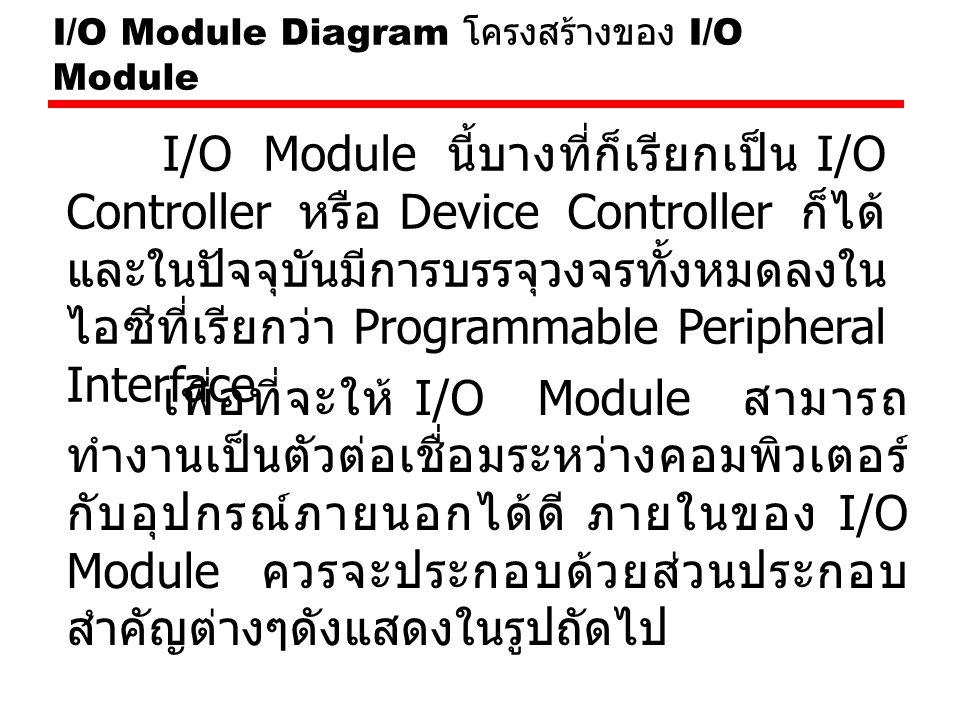 I/O Module Diagram โครงสร้างของ I/O Module เพื่อที่จะให้ I/O Module สามารถ ทำงานเป็นตัวต่อเชื่อมระหว่างคอมพิวเตอร์ กับอุปกรณ์ภายนอกได้ดี ภายในของ I/O Module ควรจะประกอบด้วยส่วนประกอบ สำคัญต่างๆดังแสดงในรูปถัดไป I/O Module นี้บางที่ก็เรียกเป็น I/O Controller หรือ Device Controller ก็ได้ และในปัจจุบันมีการบรรจุวงจรทั้งหมดลงใน ไอซีที่เรียกว่า Programmable Peripheral Interface
