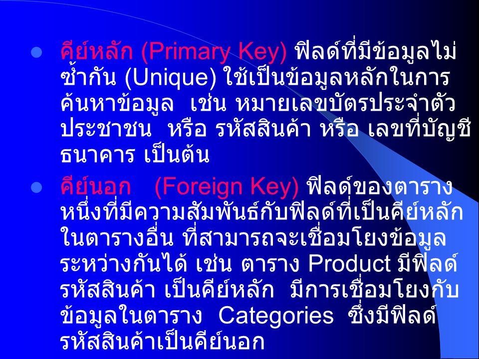 คีย์หลัก (Primary Key) ฟิลด์ที่มีข้อมูลไม่ ซ้ำกัน (Unique) ใช้เป็นข้อมูลหลักในการ ค้นหาข้อมูล เช่น หมายเลขบัตรประจำตัว ประชาชน หรือ รหัสสินค้า หรือ เลขที่บัญชี ธนาคาร เป็นต้น คีย์นอก (Foreign Key) ฟิลด์ของตาราง หนึ่งที่มีความสัมพันธ์กับฟิลด์ที่เป็นคีย์หลัก ในตารางอื่น ที่สามารถจะเชื่อมโยงข้อมูล ระหว่างกันได้ เช่น ตาราง Product มีฟิลด์ รหัสสินค้า เป็นคีย์หลัก มีการเชื่อมโยงกับ ข้อมูลในตาราง Categories ซึ่งมีฟิลด์ รหัสสินค้าเป็นคีย์นอก
