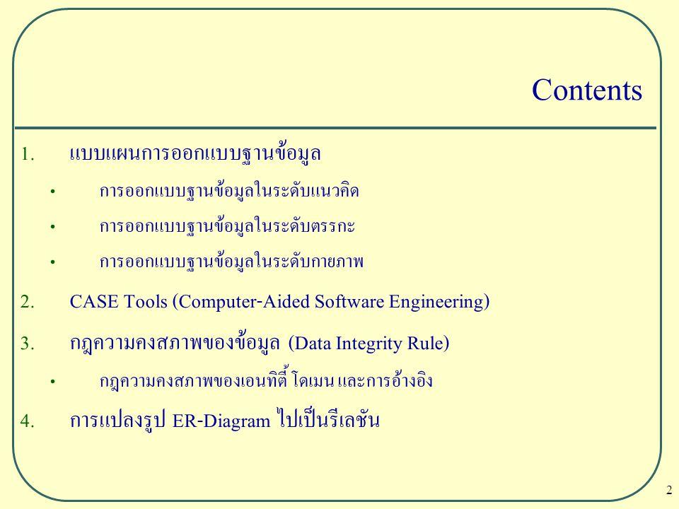 2 Contents 1. แบบแผนการออกแบบฐานข้อมูล การออกแบบฐานข้อมูลในระดับแนวคิด การออกแบบฐานข้อมูลในระดับตรรกะ การออกแบบฐานข้อมูลในระดับกายภาพ 2. CASE Tools (C