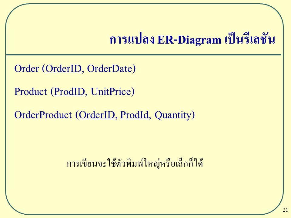 21 การแปลง ER-Diagram เป็นรีเลชัน Order (OrderID, OrderDate) Product (ProdID, UnitPrice) OrderProduct (OrderID, ProdId, Quantity) การเขียนจะใช้ตัวพิมพ