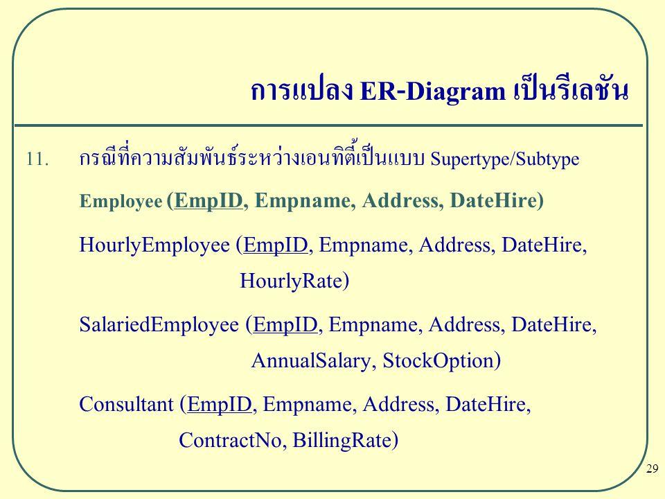 29 การแปลง ER-Diagram เป็นรีเลชัน 11. กรณีที่ความสัมพันธ์ระหว่างเอนทิตี้เป็นแบบ Supertype/Subtype Employee (EmpID, Empname, Address, DateHire) HourlyE