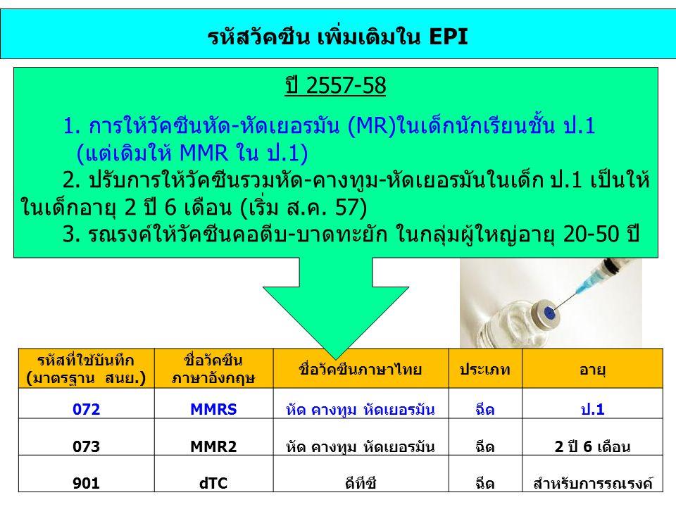 รหัสวัคซีน เพิ่มเติมใน EPI รหัสที่ใช้บันทึก (มาตรฐาน สนย.) ชื่อวัคซีน ภาษาอังกฤษ ชื่อวัคซีนภาษาไทยประเภทอายุ 072MMRSหัด คางทูม หัดเยอรมันฉีดป.1 073MMR