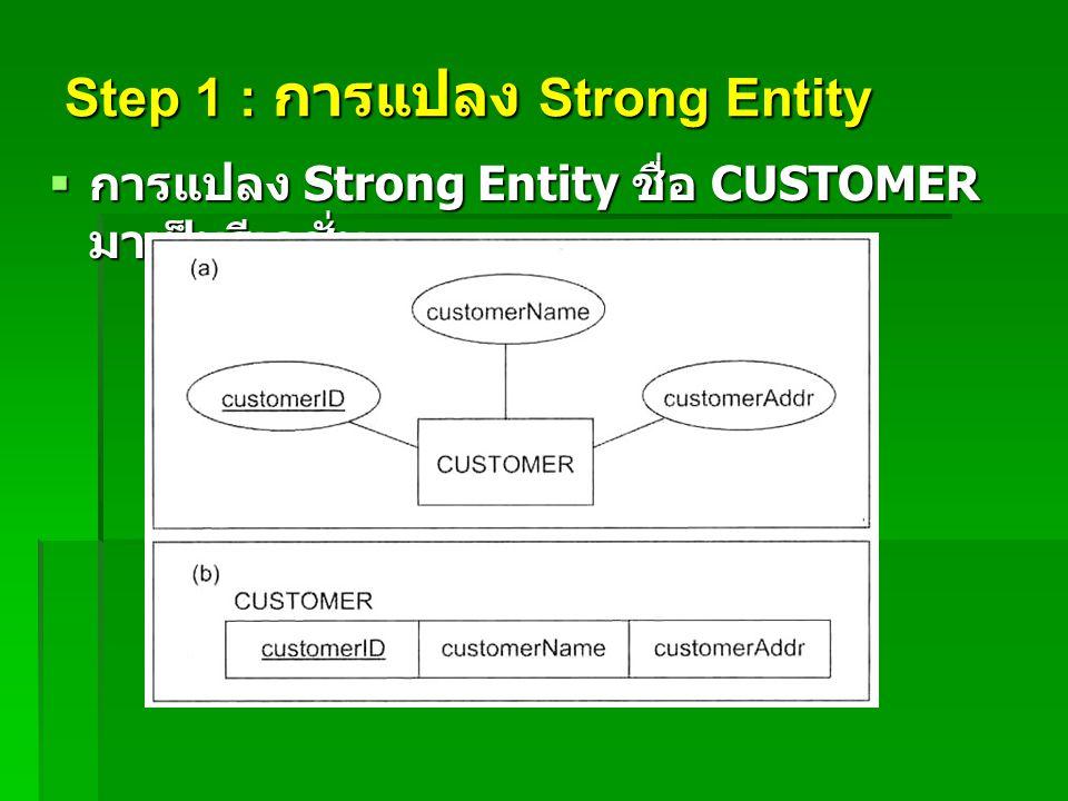 Step 1 : การแปลง Strong Entity  การแปลง Strong Entity ชื่อ CUSTOMER มาเป็นรีเลชั่น