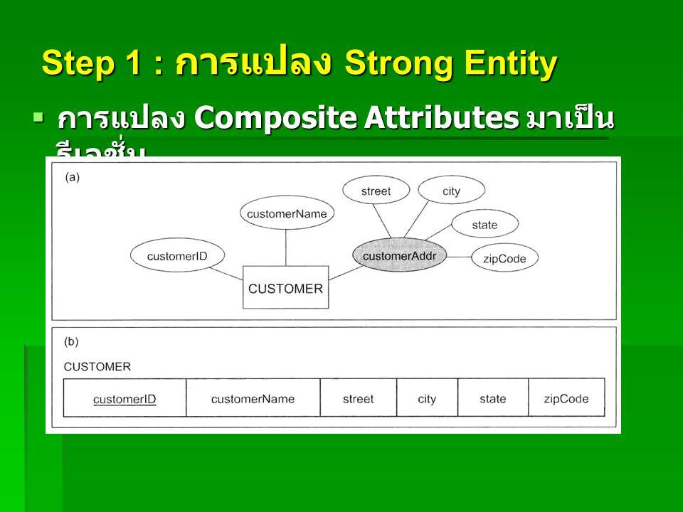 Step 1 : การแปลง Strong Entity  การแปลง Composite Attributes มาเป็น รีเลชั่น