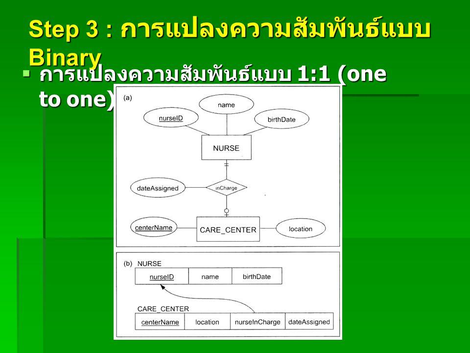Step 3 : การแปลงความสัมพันธ์แบบ Binary  การแปลงความสัมพันธ์แบบ 1:1 (one to one) เป็นรีเลชั่น