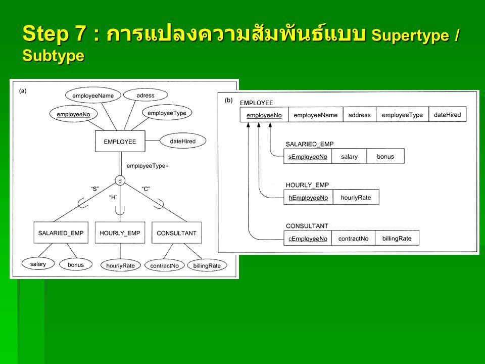 Step 7 : การแปลงความสัมพันธ์แบบ Supertype / Subtype EMPLOYEE