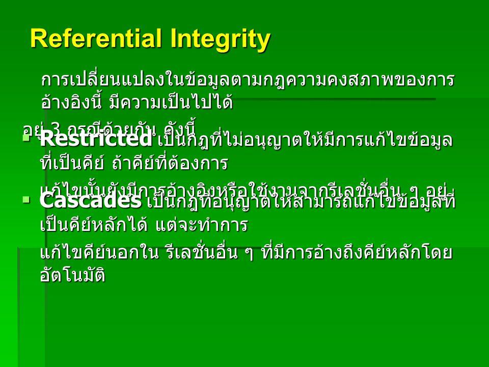 Referential Integrity การเปลี่ยนแปลงในข้อมูลตามกฎความคงสภาพของการ อ้างอิงนี้ มีความเป็นไปได้ อยู่ 3 กรณีด้วยกัน ดังนี้  Restricted เป็นกฎที่ไม่อนุญาต