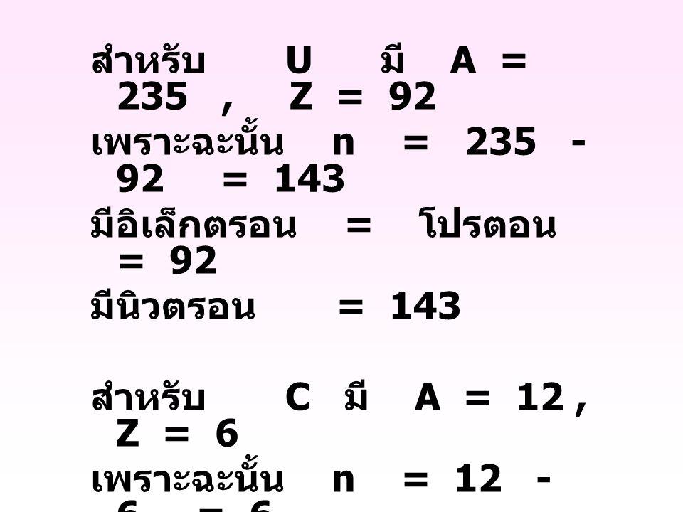 สำหรับ U มี A = 235, Z = 92 เพราะฉะนั้น n = 235 - 92 = 143 มีอิเล็กตรอน = โปรตอน = 92 มีนิวตรอน = 143 สำหรับ C มี A = 12, Z = 6 เพราะฉะนั้น n = 12 - 6