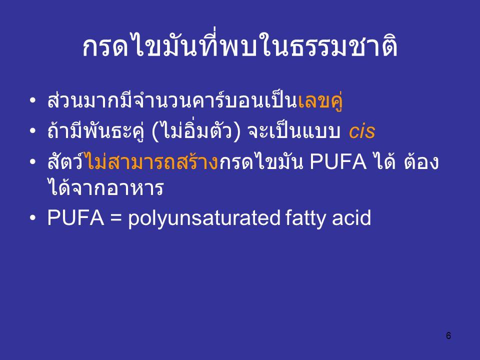 6 กรดไขมันที่พบในธรรมชาติ ส่วนมากมีจำนวนคาร์บอนเป็นเลขคู่ ถ้ามีพันธะคู่ ( ไม่อิ่มตัว ) จะเป็นแบบ cis สัตว์ไม่สามารถสร้างกรดไขมัน PUFA ได้ ต้อง ได้จากอ