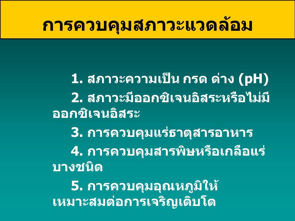 1. สภาวะความเป็น กรด ด่าง (pH) 2. สภาวะมีออกซิเจนอิสระหรือไม่มี ออกซิเจนอิสระ 3. การควบคุมแร่ธาตุสารอาหาร 4. การควบคุมสารพิษหรือเกลือแร่ บางชนิด 5. กา