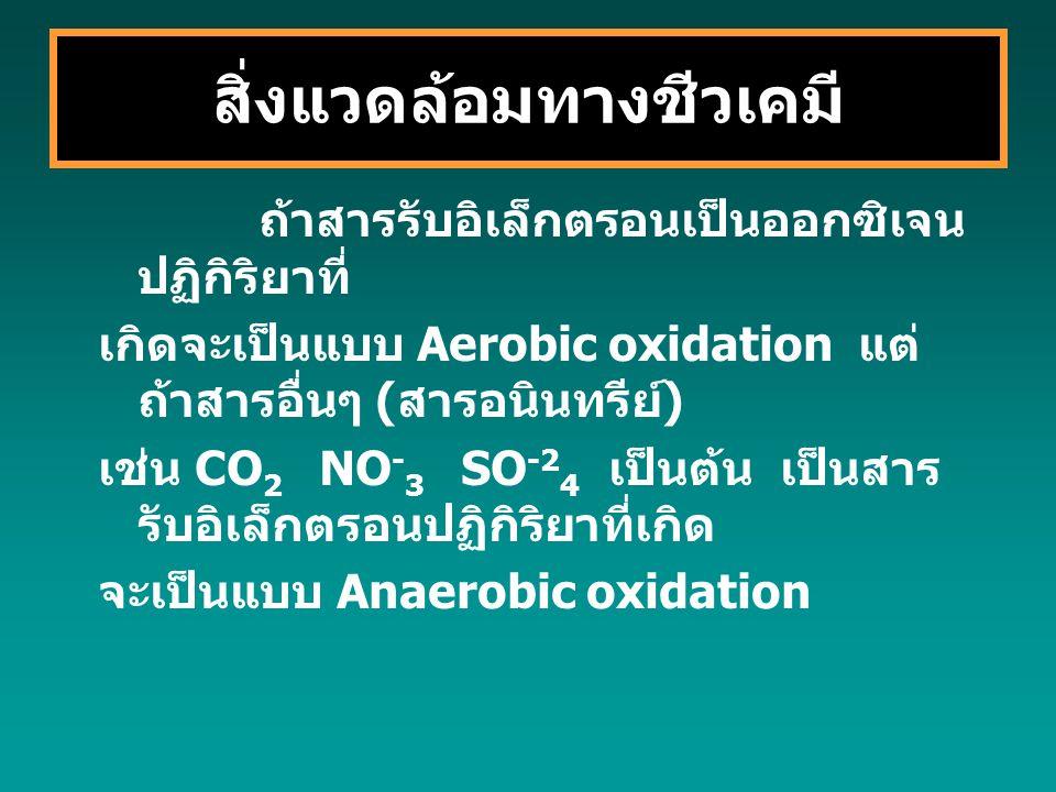 ถ้าสารรับอิเล็กตรอนเป็นออกซิเจน ปฏิกิริยาที่ เกิดจะเป็นแบบ Aerobic oxidation แต่ ถ้าสารอื่นๆ ( สารอนินทรีย์ ) เช่น CO 2 NO - 3 SO -2 4 เป็นต้น เป็นสาร