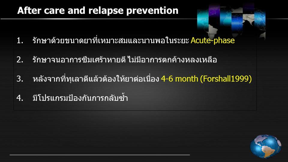 After care and relapse prevention 1.รักษาด้วยขนาดยาที่เหมาะสมและนานพอในระยะ Acute-phase 2.รักษาจนอาการซึมเศร้าหายดี ไม่มีอาการตกค้างหลงเหลือ 3.หลังจาก