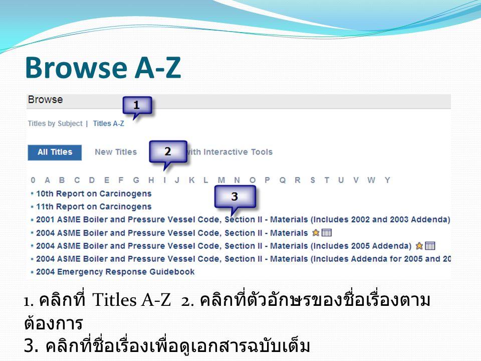 Browse A-Z 1. คลิกที่ Titles A-Z 2. คลิกที่ตัวอักษรของชื่อเรื่องตาม ต้องการ 3. คลิกที่ชื่อเรื่องเพื่อดูเอกสารฉบับเต็ม