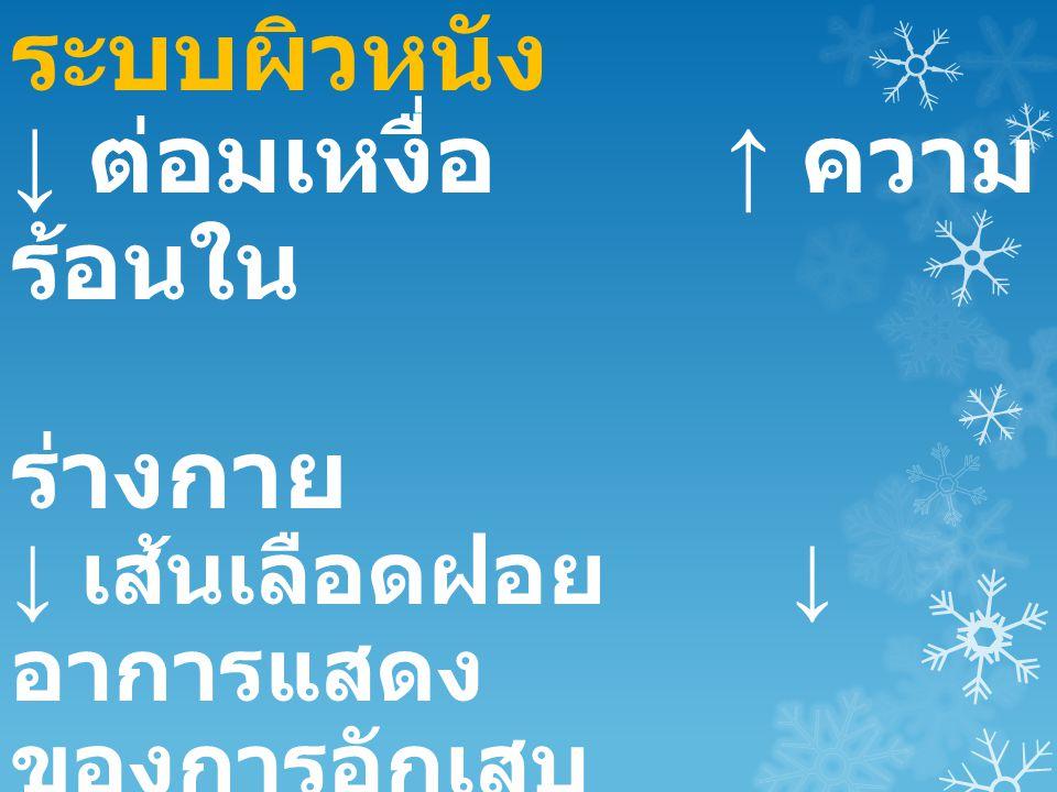 ระบบผิวหนัง ↓ ต่อมเหงื่อ ↑ ความ ร้อนใน ร่างกาย ↓ เส้นเลือดฝอย ↓ อาการแสดง ของการอักเสบ ↓ ต่อมไขมัน ↑ ผิว แห้ง