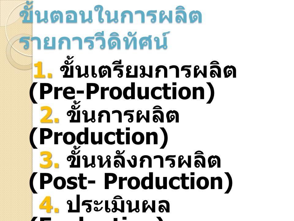 ขั้นตอนในการผลิต รายการวีดิทัศน์ 1. 1. ขั้นเตรียมการผลิต (Pre-Production) 2. 2. ขั้นการผลิต (Production) 3. 3. ขั้นหลังการผลิต (Post- Production) 4. 4