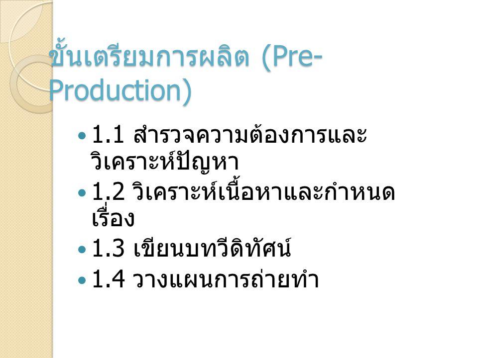 ขั้นเตรียมการผลิต (Pre- Production) 1.1 สำรวจความต้องการและ วิเคราะห์ปัญหา 1.2 วิเคราะห์เนื้อหาและกำหนด เรื่อง 1.3 เขียนบทวีดิทัศน์ 1.4 วางแผนการถ่ายท