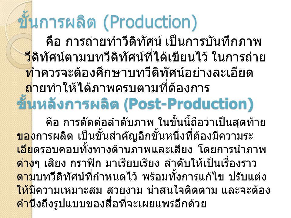 ขั้นการผลิต (Production) คือ การถ่ายทำวีดิทัศน์ เป็นการบันทึกภาพ วีดิทัศน์ตามบทวีดิทัศน์ที่ได้เขียนไว้ ในการถ่าย ทำควรจะต้องศึกษาบทวีดิทัศน์อย่างละเอี