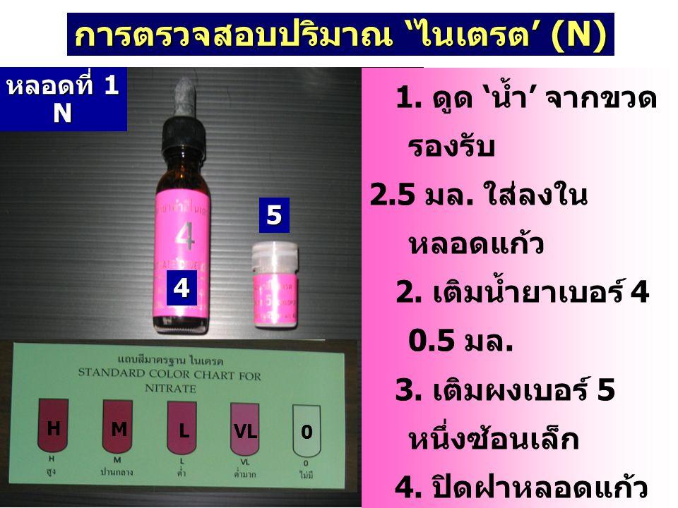 การตรวจสอบปริมาณ 'ไนเตรต' (N) 1. ดูด ' น้ำ ' จากขวด รองรับ 2.5 มล. ใส่ลงใน หลอดแก้ว 2. เติมน้ำยาเบอร์ 4 0.5 มล. 3. เติมผงเบอร์ 5 หนึ่งซ้อนเล็ก 4. ปิดฝ