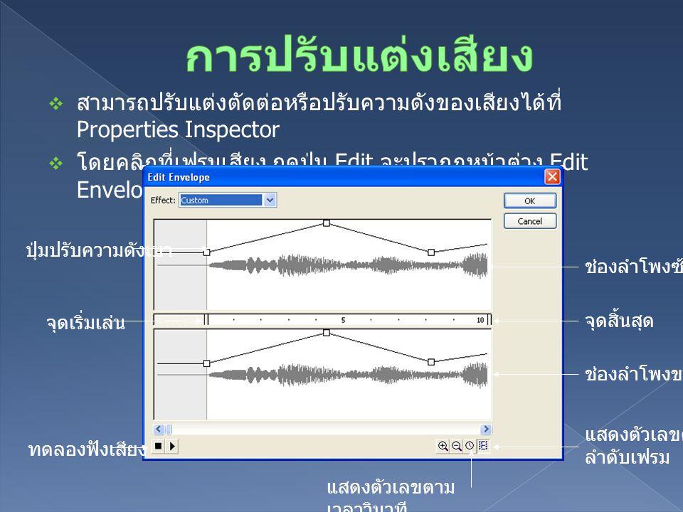  สามารถปรับแต่งตัดต่อหรือปรับความดังของเสียงได้ที่ Properties Inspector  โดยคลิกที่เฟรมเสียง กดปุ่ม Edit จะปรากฏหน้าต่าง Edit Envelope สำหรับปรับแต่