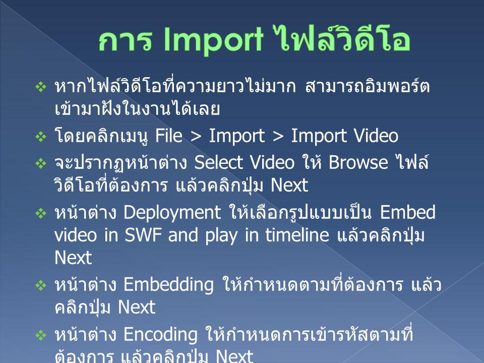  หากไฟล์วิดีโอที่ความยาวไม่มาก สามารถอิมพอร์ต เข้ามาฝังในงานได้เลย  โดยคลิกเมนู File > Import > Import Video  จะปรากฏหน้าต่าง Select Video ให้ Brow