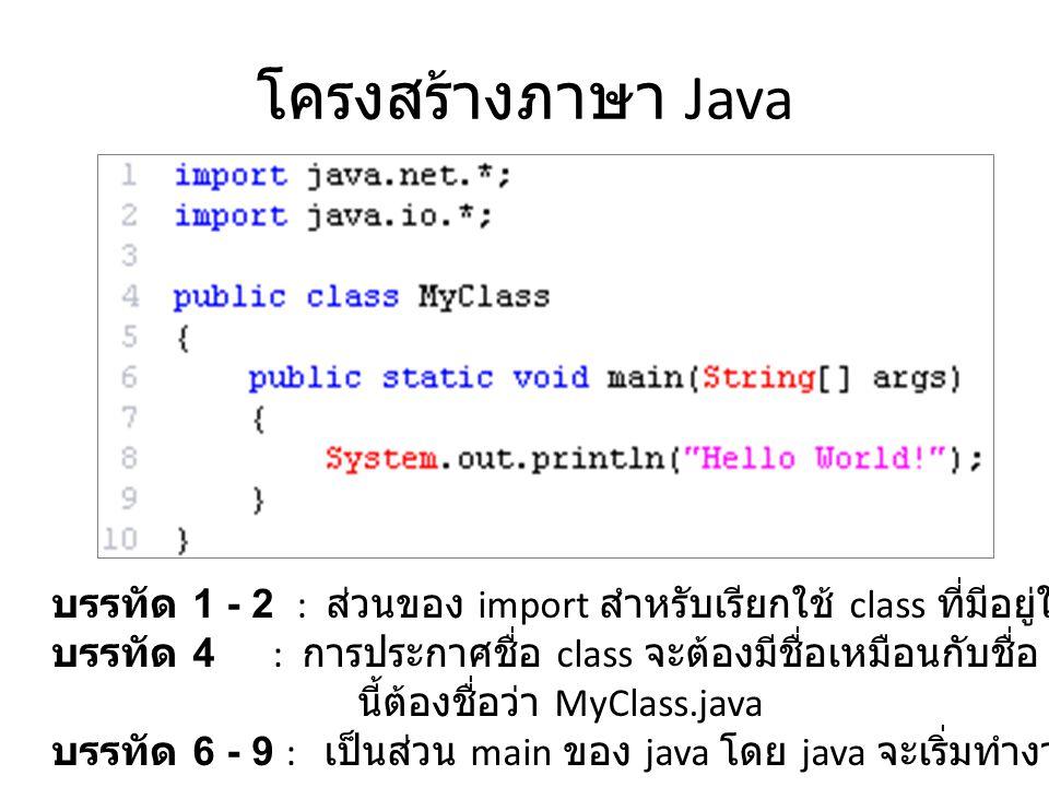 โครงสร้างภาษา Java บรรทัด 1 - 2 : ส่วนของ import สำหรับเรียกใช้ class ที่มีอยู่ใน package นั้นๆ บรรทัด 4 : การประกาศชื่อ class จะต้องมีชื่อเหมือนกับชื่อ file ดังนั้น file นี้ต้องชื่อว่า MyClass.java บรรทัด 6 - 9 : เป็นส่วน main ของ java โดย java จะเริ่มทำงานที่บรรทัดนี้