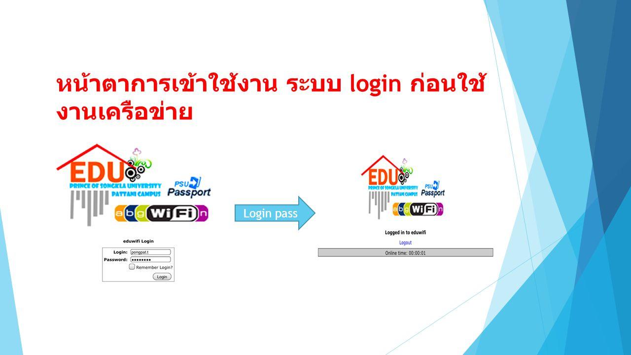 หน้าตาการเข้าใช้งาน ระบบ login ก่อนใช้ งานเครือข่าย Login pass