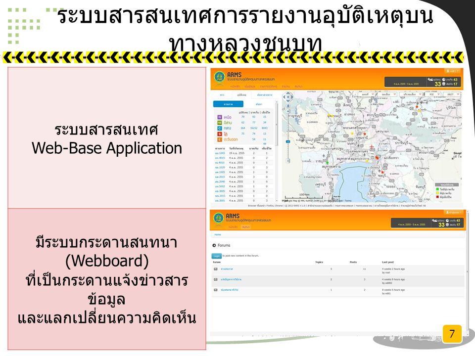ระบบสารสนเทศการรายงานอุบัติเหตุบน ทางหลวงชนบท ระบบสารสนเทศ Web-Base Application มีระบบกระดานสนทนา (Webboard) ที่เป็นกระดานแจ้งข่าวสาร ข้อมูล และแลกเปลี่ยนความคิดเห็น 7