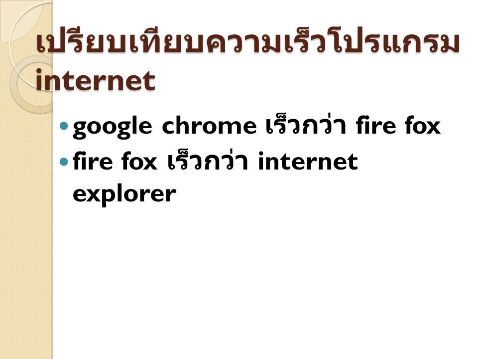 เปรียบเทียบความเร็วโปรแกรม internet google chrome เร็วกว่า fire fox fire fox เร็วกว่า internet explorer