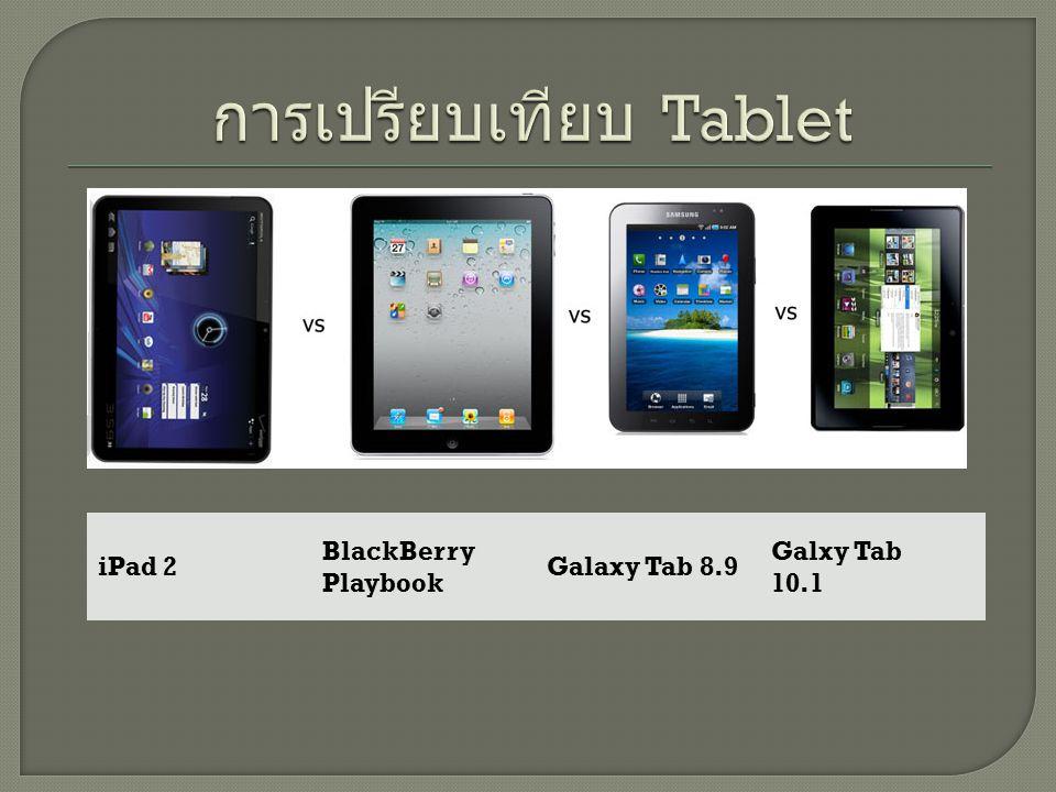 รายละเอี ยด iPad 2 BlackBe rry Playboo k Galaxy Tab 8.9 Galxy Tab 10.1 HP Slate 500 Dell Steak ยี่ห้อ Apple BlackBerr y Samsung HPDell ขนาด 9.7 7 8.9 10.1 8.95,7,10 ความ ละเอียด 1024x76 8 1024x60 0 1280x80 0 1024x60 0 800x480 ระบบ ปฏิบัติการ iOS BlackBerr y Tablet OS Android 3.0 Windows 7 Android หน่วยควา มจำ 16/32/64 GB 16/32GB 16/32/64 GB 32/64GB2GB การ เชื่อมต่อ Bluetooth 2.1/Wifi Bluetooth 3.0/Wifi Bluetooth 2.1/Wifi น้ำหนัก 1.34 ปอนด์.9 ปอนด์ 1.03 ปอน ด์ 1.31 ปอนด์ 1.49 ปอนด์.49 ปอนด์ ราคา เริ่มต้น 15,000 บาท 14,000 บาท 15,000 บาท 16,000 บาท 18,000 บาท