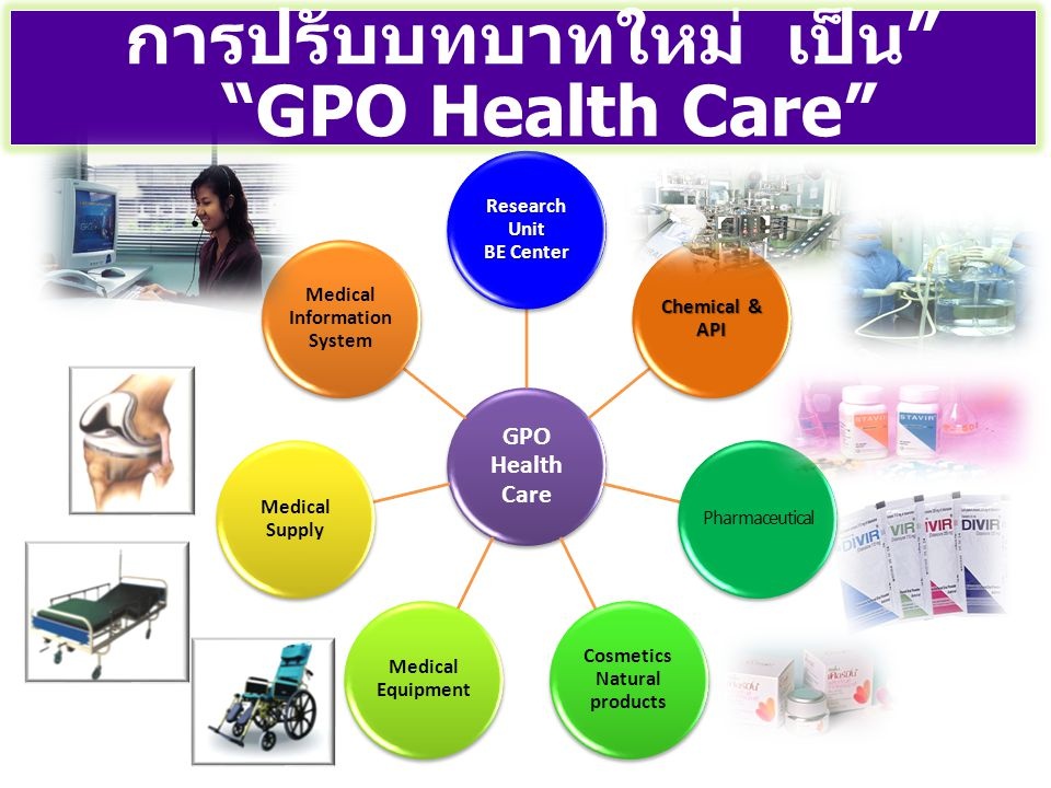 GPO Health Care Research Unit BE Center Chemical & API Pharmaceutical Cosmetics Natural products Medical Equipment Medical Supply Medical Information