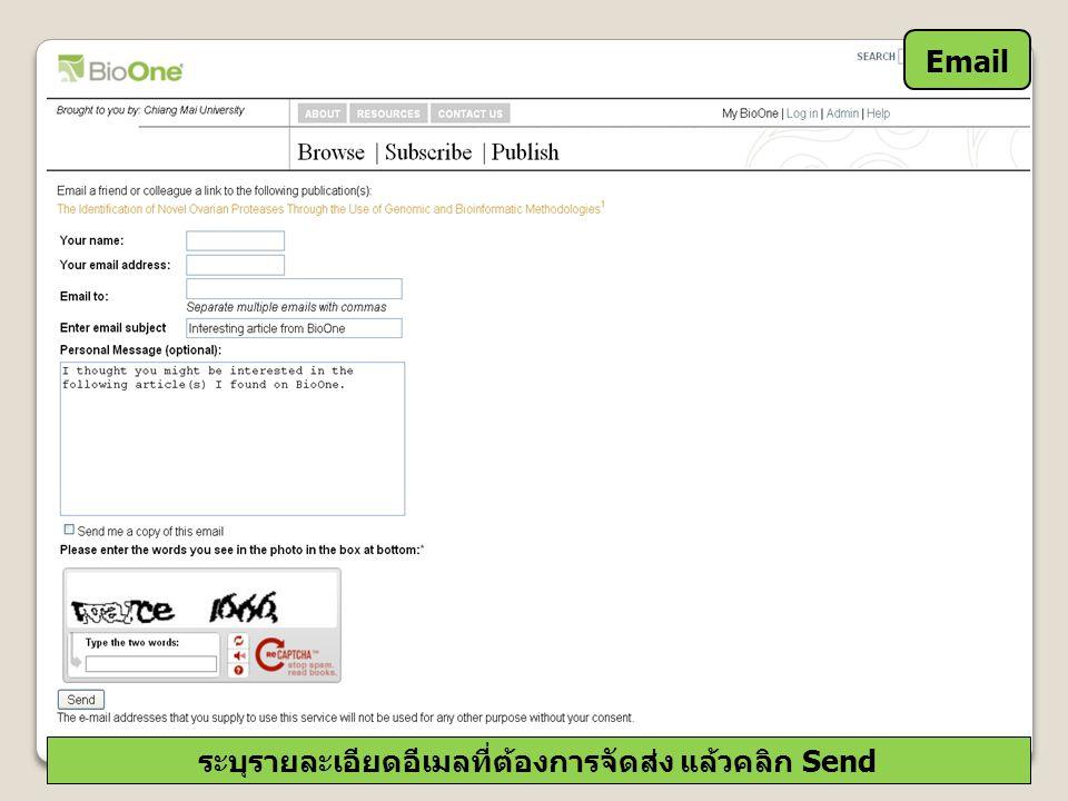 Email ระบุรายละเอียดอีเมลที่ต้องการจัดส่ง แล้วคลิก Send