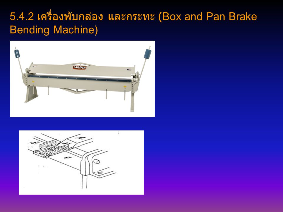 5.4.2 เครื่องพับกล่อง และกระทะ (Box and Pan Brake Bending Machine)
