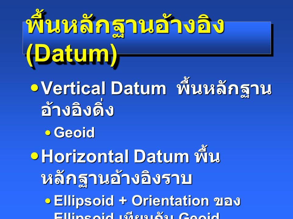 พื้นหลักฐานอ้างอิง (Datum) Vertical Datum พื้นหลักฐาน อ้างอิงดิ่ง Vertical Datum พื้นหลักฐาน อ้างอิงดิ่ง GeoidGeoid Horizontal Datum พื้น หลักฐานอ้างอิงราบ Horizontal Datum พื้น หลักฐานอ้างอิงราบ Ellipsoid + Orientation ของ Ellipsoid เทียบกับ GeoidEllipsoid + Orientation ของ Ellipsoid เทียบกับ Geoid