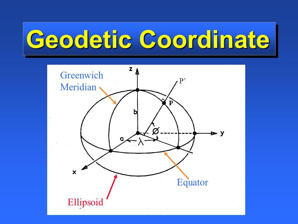 Geodetic Coordinate Greenwich Meridian Equator Ellipsoid P'