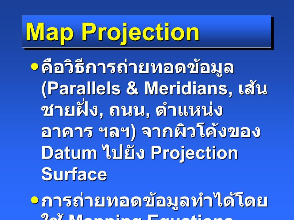 Map Projection คือวิธีการถ่ายทอดข้อมูล (Parallels & Meridians, เส้น ชายฝั่ง, ถนน, ตำแหน่ง อาคาร ฯลฯ ) จากผิวโค้งของ Datum ไปยัง Projection Surface คือวิธีการถ่ายทอดข้อมูล (Parallels & Meridians, เส้น ชายฝั่ง, ถนน, ตำแหน่ง อาคาร ฯลฯ ) จากผิวโค้งของ Datum ไปยัง Projection Surface การถ่ายทอดข้อมูลทำได้โดย ใช้ Mapping Equations การถ่ายทอดข้อมูลทำได้โดย ใช้ Mapping Equations Mapping Equations มีได้ไม่ จำกัด Mapping Equations มีได้ไม่ จำกัด