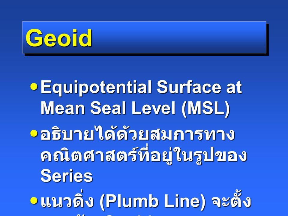 UTM Projection แต่ละโซนกว้าง 6 องศาตาม แนว E-W แต่ละโซนกว้าง 6 องศาตาม แนว E-W CM อยู่กลางโซน CM อยู่กลางโซน Scale Factor at CM = 0.9996 (2499/2500) Scale Factor at CM = 0.9996 (2499/2500) หน่วยที่ใช้เป็นเมตร หน่วยที่ใช้เป็นเมตร