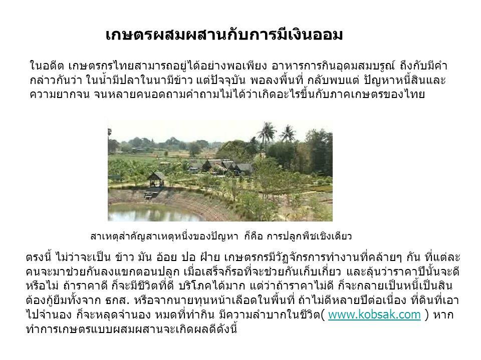 เกษตรผสมผสานกับการมีเงินออม ในอดีต เกษตรกรไทยสามารถอยู่ได้อย่างพอเพียง อาหารการกินอุดมสมบรูณ์ ถึงกับมีคำ กล่าวกันว่า ในน้ำมีปลาในนามีข้าว แต่ปัจจุบัน