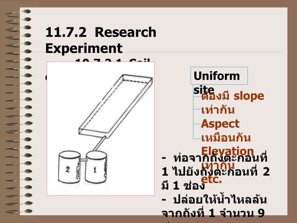 11.7.2 Research Experiment 10.7.2.1 Soil erosion plot Uniform site ต้องมี slope เท่ากัน Aspect เหมือนกัน Elevation เท่ากัน etc. - ท่อจากถังตะกอนที่ 1