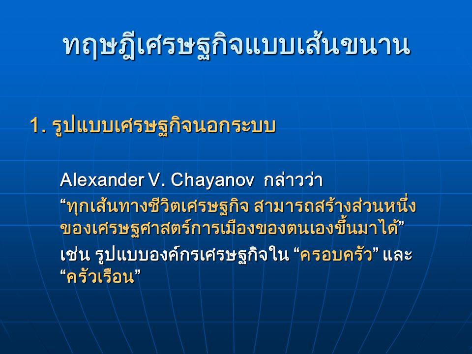 """ทฤษฎีเศรษฐกิจแบบเส้นขนาน 1. รูปแบบเศรษฐกิจนอกระบบ Alexander V. Chayanov กล่าวว่า """"ทุกเส้นทางชีวิตเศรษฐกิจ สามารถสร้างส่วนหนึ่ง ของเศรษฐศาสตร์การเมืองข"""
